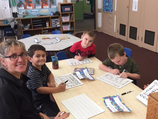 Kindergarten students work on identifying quantity of number