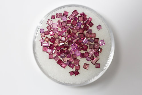 Princess Cut Rubies 14.9 Cttw.