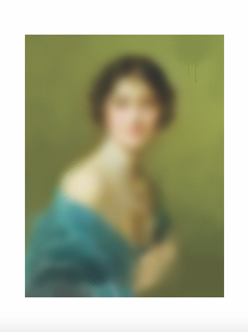 Lady with green background