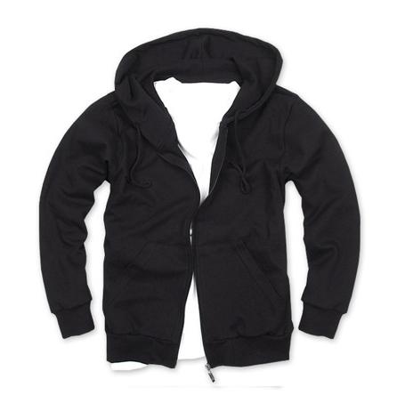 拉鏈衛衣,360g 毛圈拉鏈套頭衛衣_黑