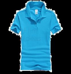 Polo恤_女裝淺藍色