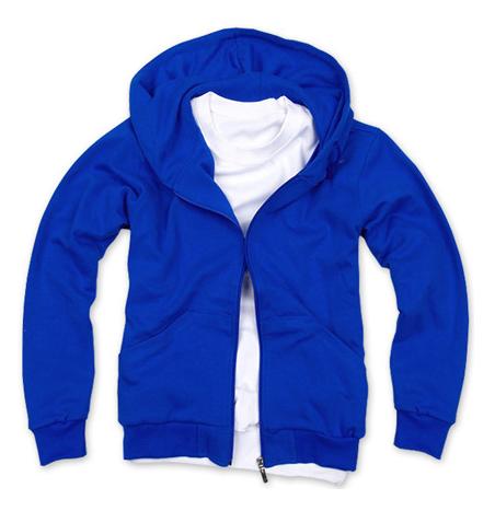 拉鏈衛衣,360g 毛圈拉鏈套頭衛衣_寶藍