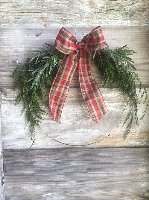 Fresh Cedar Gold Hoop Wreath