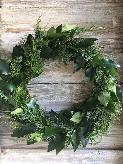 Fresh Mixed Greenery Wreath
