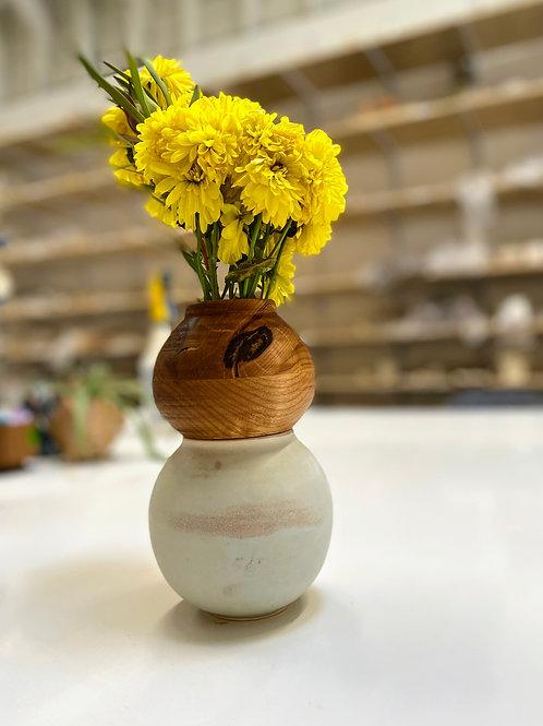 Wooden Tops on Ceramic Vases