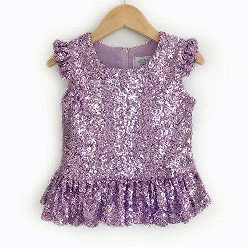Lavender or Rose Gold Sequin Peplum Top