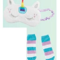 Faux Fur Sleep Mask & Socks Set –Unicorn and Llama