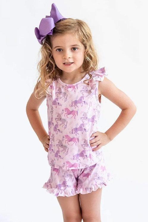 Pastel Unicorn Ruffle Pajama Set