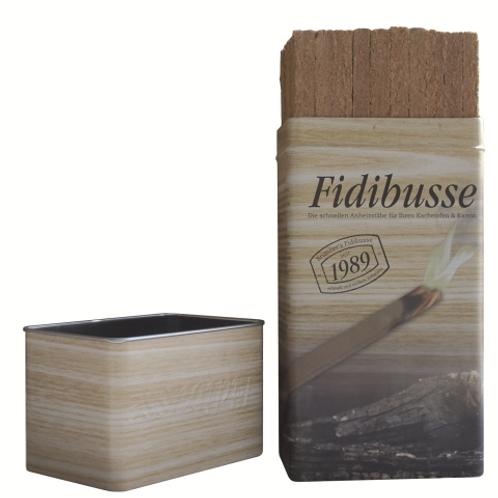 Podpaľovač pevný FIDIBUS 50 ks, kovová krabička
