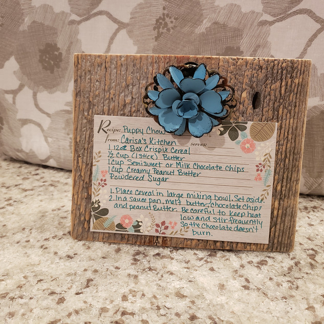 Reclaimed barn wood recipe holder