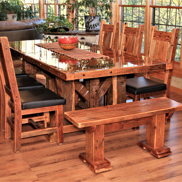 Reclaimed barn wood table with bench and