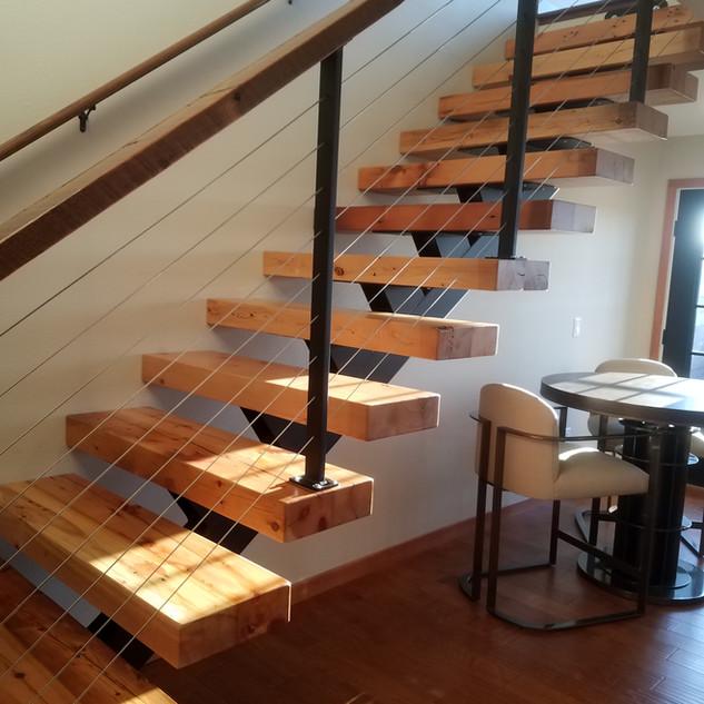 Reclaimed barn wood stair treads