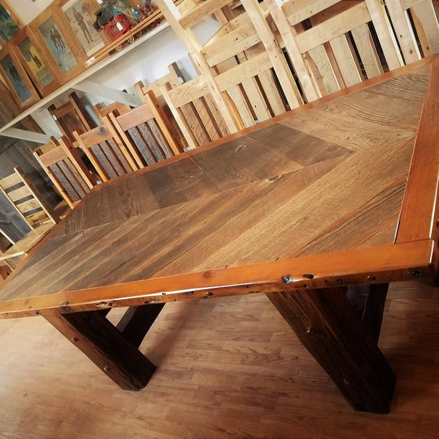 Cheveron barn wood dining table