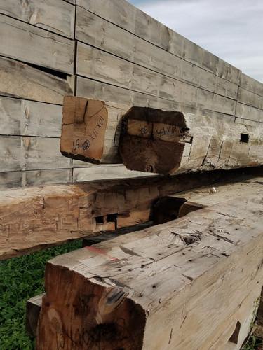 Rustic reclaimed hand hewn beams