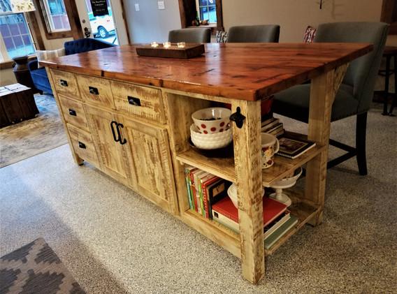 Reclaimed barn wood center island