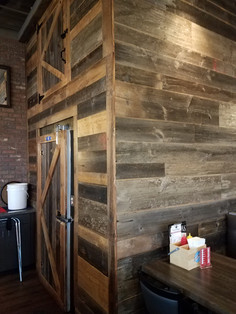 reclaimed faded gray barn wood siding, finished
