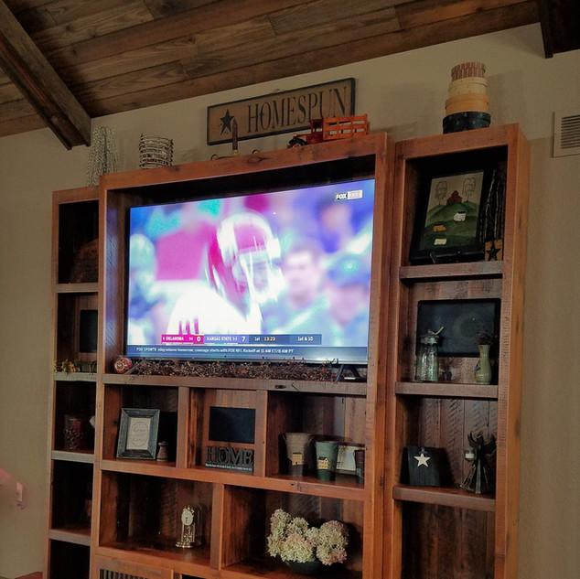 Reclaimed barn wood entertainment center