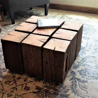 Reclaimed rough sawn beam coffee table