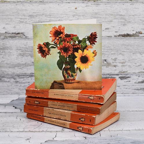 Rustic Jug of Sunflowers