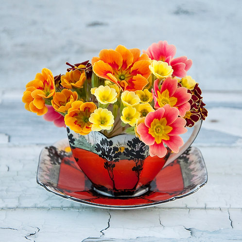 Art Deco Teacup and Spring Flowers
