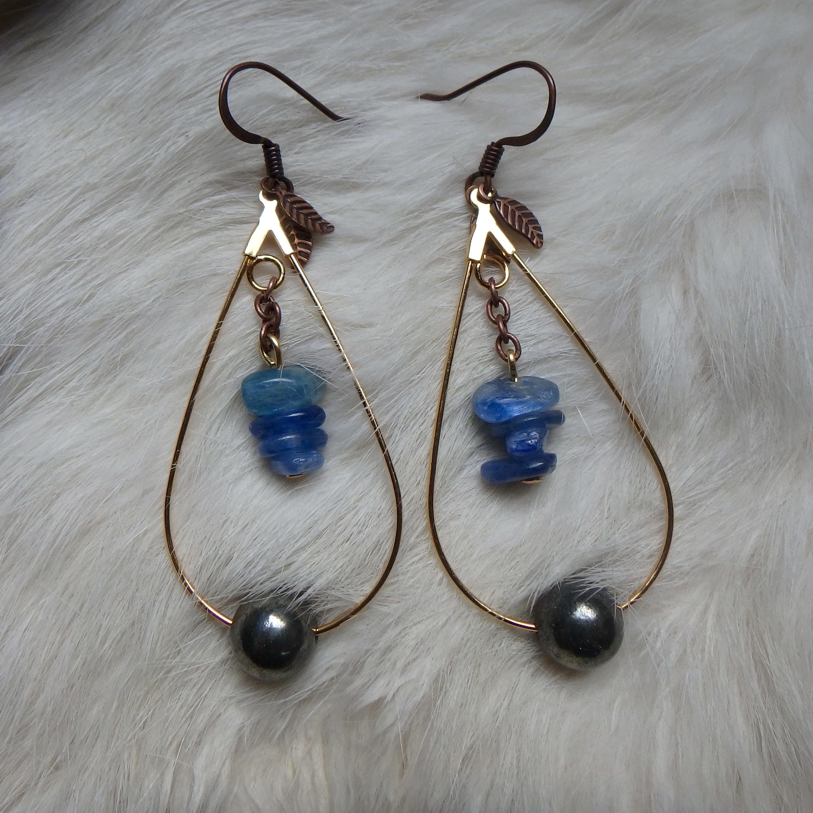 Kyanite & Pyrite Earrings