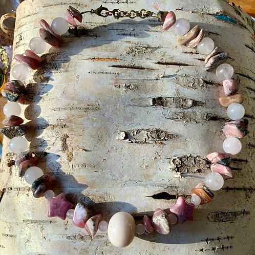 Pink Opal, Rose Quartz, Rhodonite and Rhodochrosite necklace