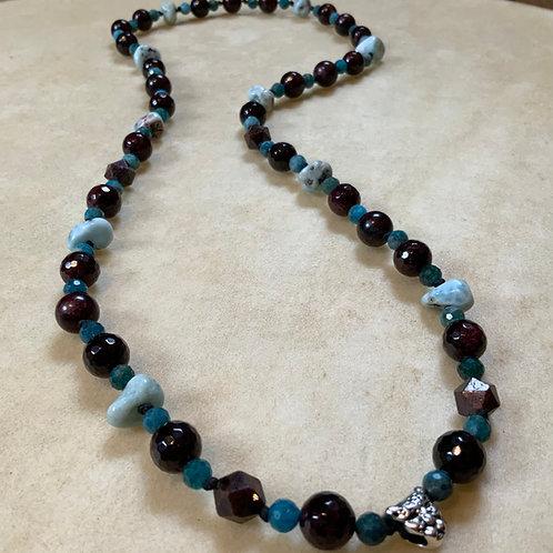 Garnet Apatite Larimar knotted necklace