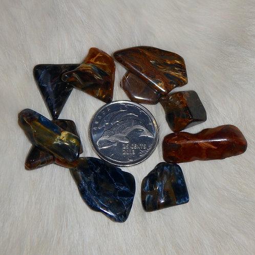 Pietersite tumbled 3 tiny pieces