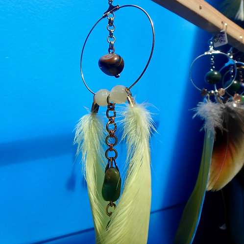 Cockatoo Feather Earring (SINGLE) with Tigers Eye Turquoise and Calcite