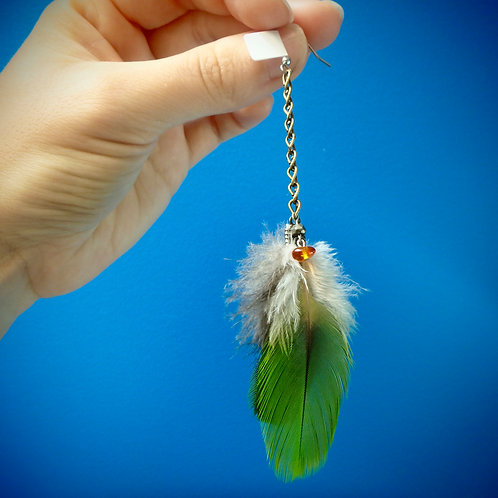 Amazon Feather Earring (SINGLE) on chain with Amber and Pyrite