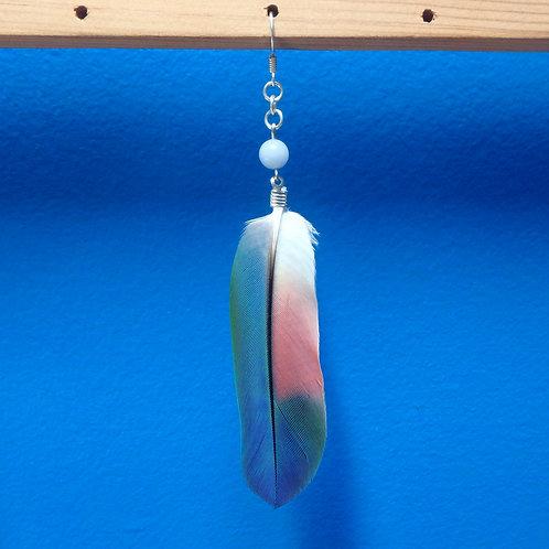 Amazon Feather Earring (SINGLE) with Angelite