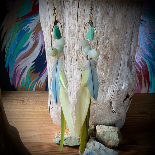 Parrot Feather Earrings with Chrysoprase and Amazonite