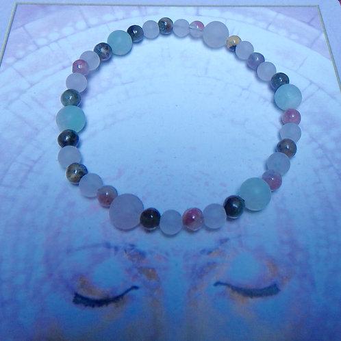 Tourmaline Rose Quartz and Amazonite stretch bracelet (SMALL)