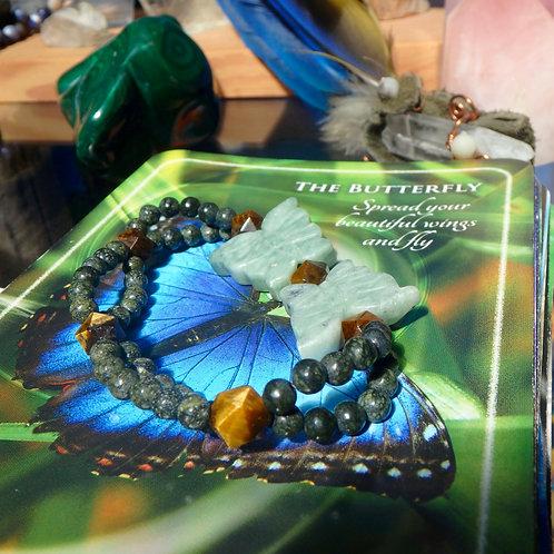 Serpentine and Tigers Eye stretch bracelet (MEDIUM)