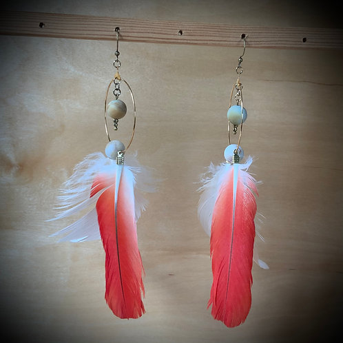 Parrot Feather Earrings with Amazonite