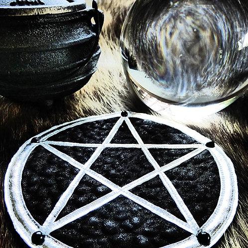 Pentagram Patch: Black w/ Silver Star