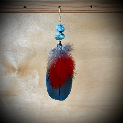 Macaw Parrot Feather Earring with Larimar (SINGLE)