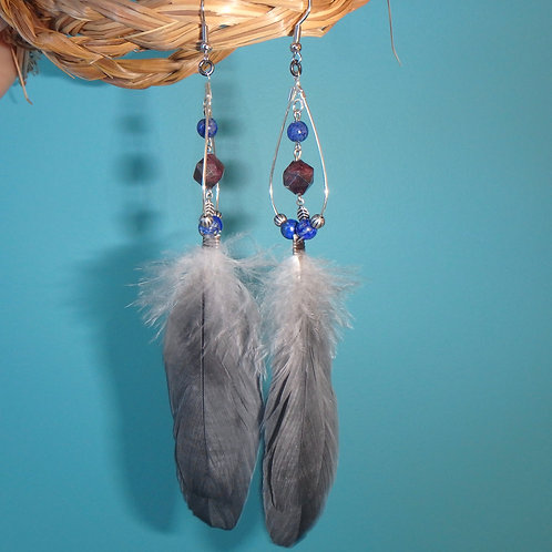 African Grey Feather Earrings with Lapis and Garnet