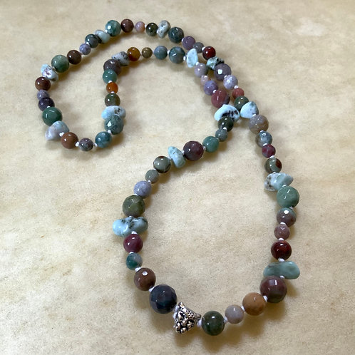 Larimar and Indian Agate knotted necklace