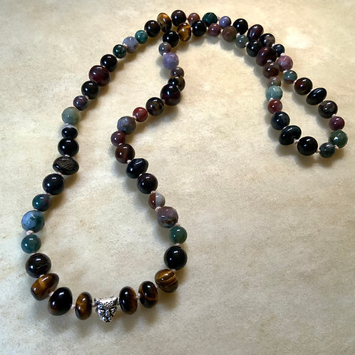 Tigers Eye Agate Petrified Wood knotted necklace
