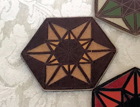Merkaba/6-Pointed Star Patch: Dk. Brown w/ Tan