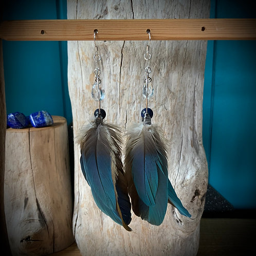 Macaw Feather Earrings with Lapis Lazuli and Quartz