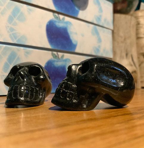 Nuummite Elongated Crystal Skull