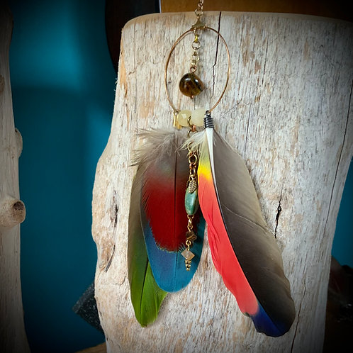 Parrot Feather Earring with Calcite Turquoise and Tigers Eye (SINGLE)