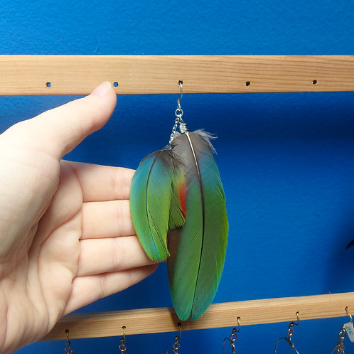 Colourful Macaw Feather Earring (SINGLE)