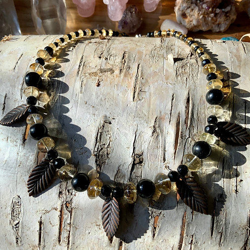 Bee-auty Citrine / Tourmaline / Obsidian Necklace