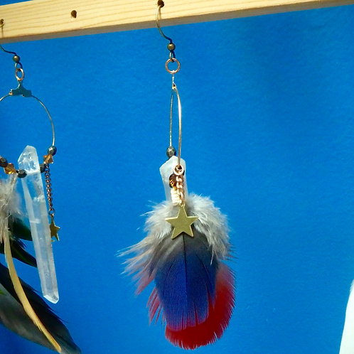 Quartz Point Macaw Feather Earrings with Stars and Swarovskis