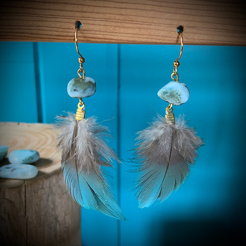 Macaw Feather Earrings with Larimar
