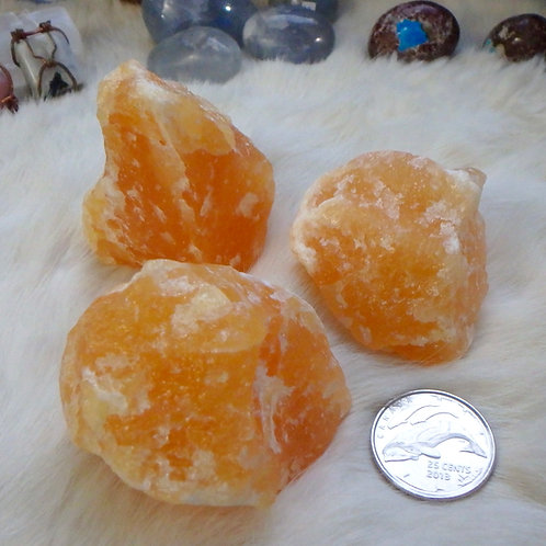 Orange Calcite raw - 4 pieces