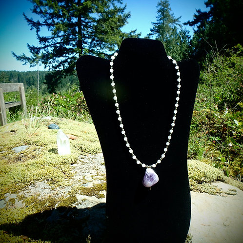 Amethyst necklace with Rose Quartz and Pyrite